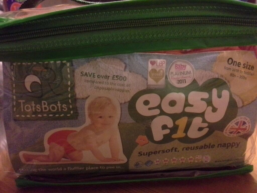 New Unused Washable Reusable Totbots Easyfit Nappies One Size 8lbs to 35lbsin Newry, County DownGumtree - New Still in Original Bag Tots Bots Washable Reusable Nappy One Size 8lbs to 35lbs with Velcro Fastening