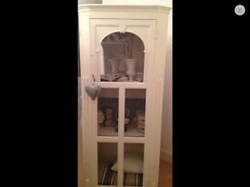 Lovely painted armoire or linen cupboard with shelves & wire mesh front