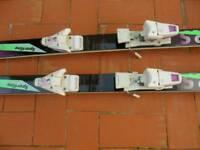 Ski boots and skis