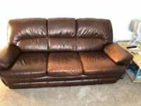 Brown leather three-piece, two seater, one seater, three seater couch
