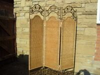 Shabby Chic Farmhouse Country Rattan Room Divider /Privacy Screen