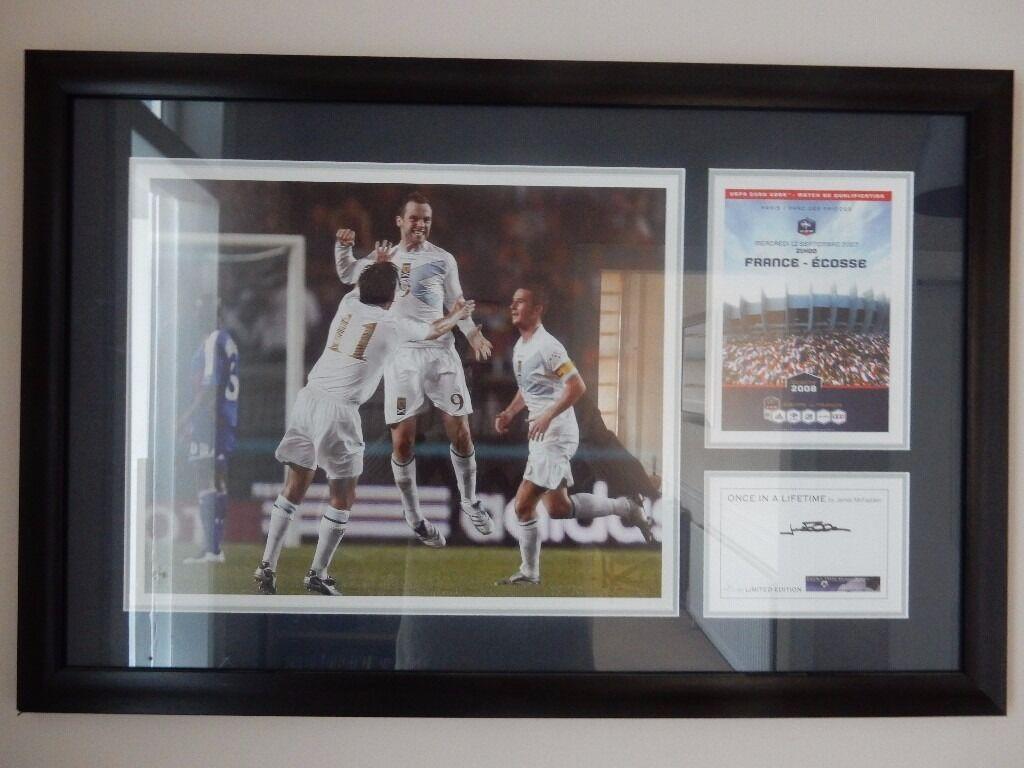 "James McFadden scores for Scotland v France, signed and framed picture ""Once in a Lifetime"""