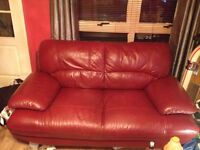 Med dark red/wine colour genuine leather suite in 3 + 2 seater format