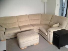 Fabric Corner Sofa and Foot Rest