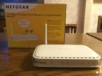 Netgear 54 Mbps Wireless Print Server w/ 4-port Switch