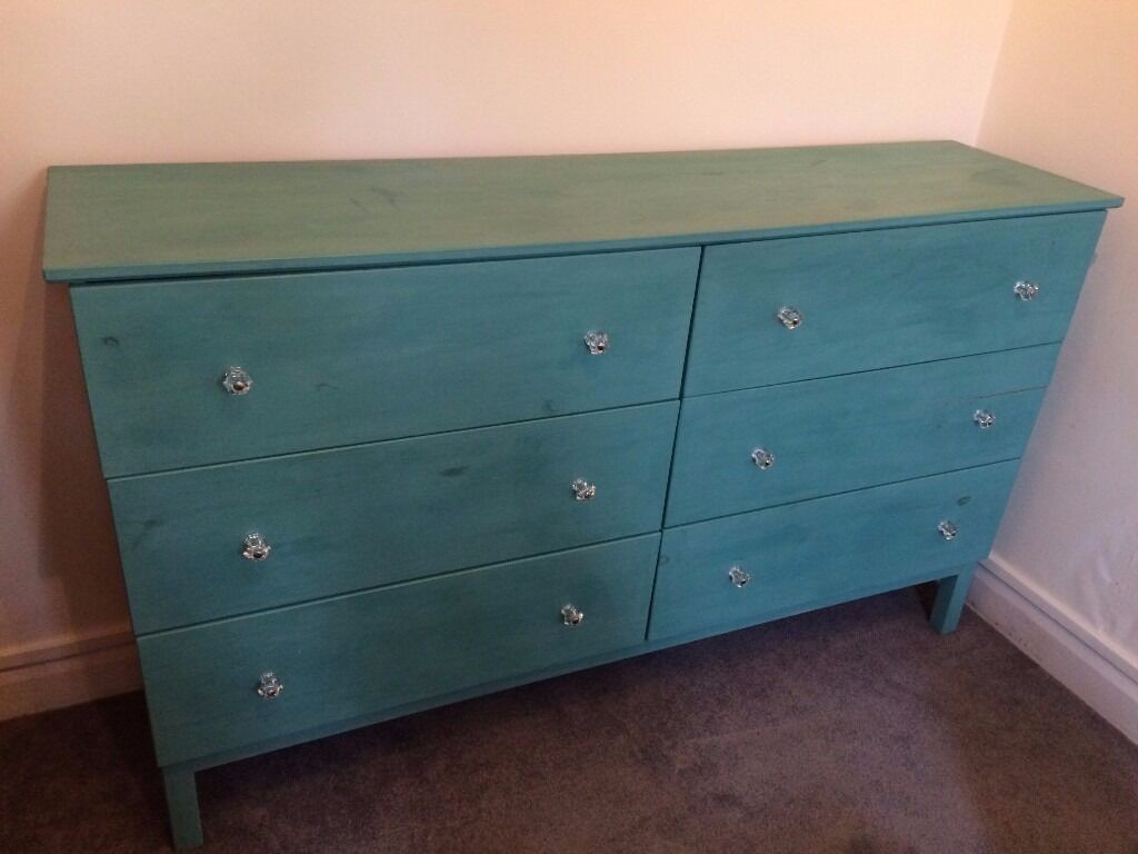 6 Drawer Pine Chest Of Drawers Ikea Tarva Customised With Light Teal Annie Sloan