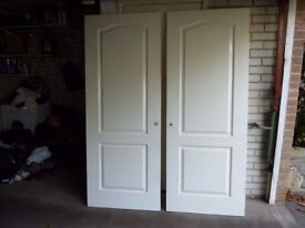 Pair of 2 panel arched internal doors used white gloss 1960mm x 760mm x 35mm