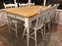 6ft Shabby Chic Pine Farmhouse Table With Cutlery Drawer and 6 Chairs