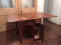Vintage Folding Drop Leaf Wooden Kitchen Dining Table, Two sided Storage & Drawers, Turned Legs
