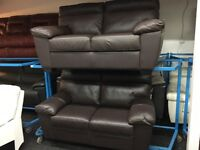 ScS New / Ex Display Brown Leather 2 Seater Sofa + 2 Seater Sofa