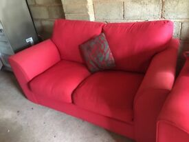 Red Two Piece Sofa set ( one sofa is a sofa bed)