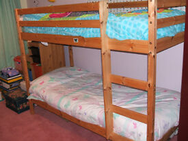 KIDS PINE BUNK BEDS - VERY GOOD CONDITION COMPLETE WITH MATRESSES. OPTIONAL QUILTS, COVERS, BEDDING