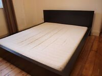 Ikea king size bed, black, MALM, with SULTAN mattress, washable cover