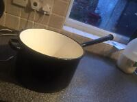 Large cast iron enamel Gypsy pan / Barge ware / planter