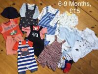 Baby clothes bundle 3-6 Months, 6-9 Months, 9-12 Months. Outfits, dungarees, shorts