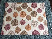 Orange and brown leaf print roller blind 91cm