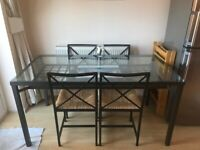 Glass Dining Table with 4 Chairs IKEA