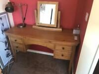 Solid oak dressing table with mirror