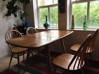 VINTAGE LIGHT ELM WOON ERCOL TABLE AND 4 ERCOL CHAIRS