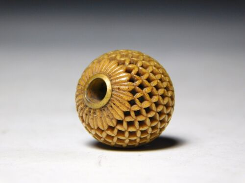 Very Fine Openwork OJIME Bead NETSUKE Japan Original Edo Inro Antique