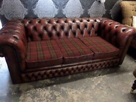 Stunning Chesterfield Vintage 3 Seater Sofa in Oxblood Red Leather with Tartan Delivery