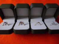 FOUR new boxed 9ct gold rings with genuine stones, diamonds + amethyst. COLLECT Swindon, only £140.