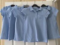 Girls Blue School Polo Shirts x6