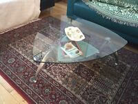 Retro vintage glass coffee table