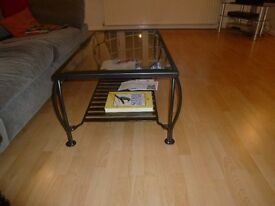 Glass and iron coffee table made in UK at Millside Forge