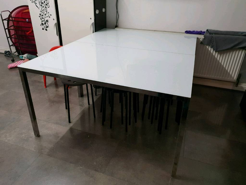 Ikea glass dining table x2 with 6 chairs