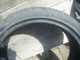 2 Tyres 205 /40 /zr17 Part worn tyres matching pair with loads of tread