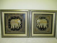 PAIR OF FRAMED KALAGA SEQUINNED FABRIC EMBELLISHED ELEPHANT PICTURES FREE DELIVERY