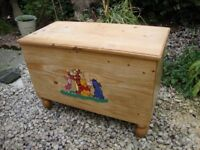 Solid Pine, Winnie The Pooh, Chest/Trunk. Approx 28 x 19 x 14 Inches.