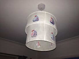 Lampshade light shade for ceiling light - white blue red boats sailing yachts boys bedroom
