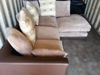 BYRON LIGHT BROWN CORNER SOFA IN EXCELLENT CONDITION.