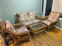 Conservatory Cane Furniture Set - 4 Piece 3 Chairs sofa & Table