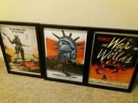 3 framed retro movie posters