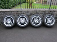 """MERCEDES-BENZ SL GENUINE 18"""" AMG V 22-SPOKE ALLOY WHEELS WITH CONTINENTAL TYRES"""