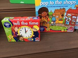 Orchard toys/board games - pop to the shops &I tell the time - educational