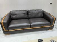 Dark brown real leather sofas in very good condition. Beautiful modern sofa set
