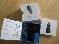 Google Chromecast fully boxed with plug/lead and HDMI extender