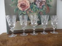 Antique Vintage Georgian Cut Crystal Sherry Drinking Glasses Laurel Leaf Pattern