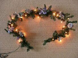 Artificial Pine Christmas Xmas Garland with Lights Silver & Purple Bows Pine Cones Poinsettias etc