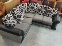 Nice Grey & Black Corner sofa + Free Delivery