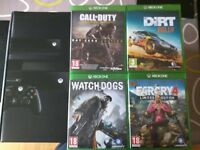 Xbox one 500GB with Kinect and 4 games.