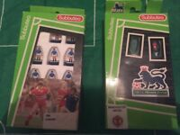 Subbuteo package including pitch, ball, goals, free kick and throw in players and a variety of teams