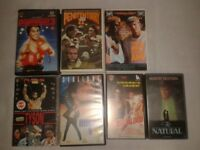 7 VHS tapes sport films ROCKY stallone PENITENTIARY leon kennedy YOUNGBLOOD redford NATURAL snipes