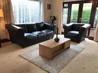 Dfs Dark Brown Leather 3 Seater Sofa + Armchair Suite Excellent Condition