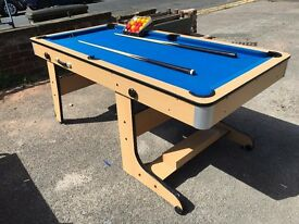 Pool Table - With Pool Balls & Pool Cue's - Folds Upright - See Notes - Reduced