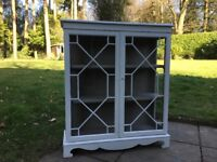 Hand Painted Reproduction Solid Wood Glass Fronted Cabinet / Bookcase